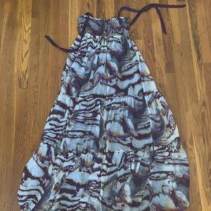 Bebe Purple Print Maxi Dress Size: XS